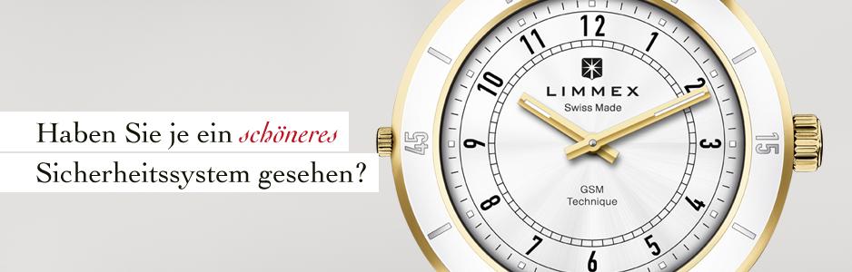 Weltneuheit: Die Limmex-Notruf-Uhr ist die weltweit erste Uhr, mit der Sie im Notfall auf Knopfdruck Alarm auslösen können.